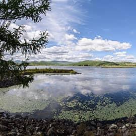 """阿尔山杜鹃湖位于内蒙古阿尔山市东北92公里处,是火山爆发时熔岩流堵塞河谷形成的湖泊,因湖畔开满杜鹃花而得名。该湖状呈L型,东南为进水口,西南为出水口,为流动活水湖,四季风景美不胜收。有诗赞叹杜鹃湖:""""神女新浴幽谷香,金针巧为织女绣,素笺遥寄化春雨,杜鹃湖畔舞霓裳。"""