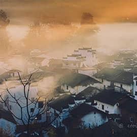 秋天的石城,慵懒而又美艳。尤其是每天清晨,村子里的居民做早饭而产生的缕缕炊烟,凝聚在晨雾中,聚而不散,萦绕在古村落之间,使这充满古徽州建筑特色的程村若隐若现,有如置身于天上人间般的虚幻缥缈之中。等到阳光喷薄而出,那通过山坳的光线透过巨大的红枫树一束束地照射到这人间仙境中时,只见得炊烟袅袅,光影浮动,若现若隐。红枫绿树,黑瓦白墙。美轮美奂,恍如仙境。