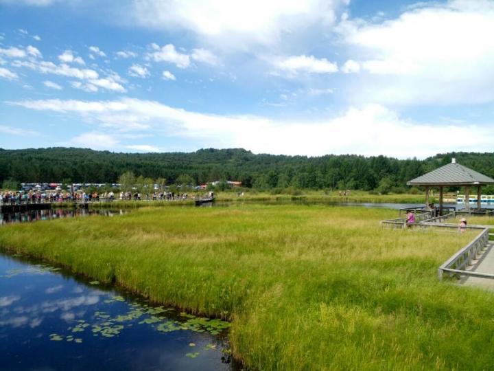 七星湖湿地公园,七星湖湿地公园是塞罕坝国家森林公园的重点旅游风景点,景色很美。但景区单价25元,却不卖单价票,要卖就卖130元的景区联票。有七个小湖像北斗七星一样排布其中。