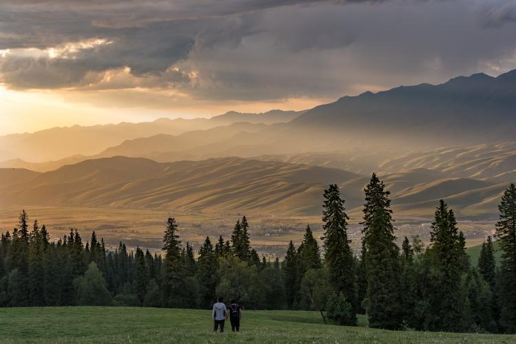 那拉提大草原,走进草原放眼望去,就像进入童话里的世界,一片绿油油的太美太漂亮,一步一景,摄影爱好者的天堂,路边还能随时见到一群一群的牛羊,美景尽收眼底,随手一拍都是大片,人间仙境一般。